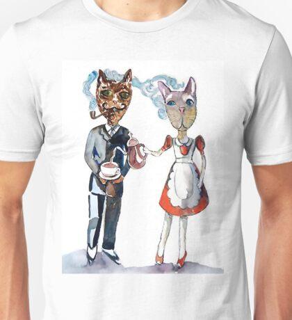 Retro Cats Having Tea Unisex T-Shirt
