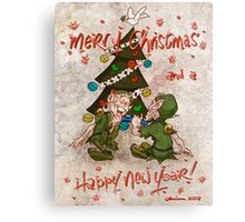 Christmas Cracker With The Elves ! Canvas Print
