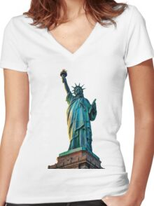 Liberty Dark Women's Fitted V-Neck T-Shirt