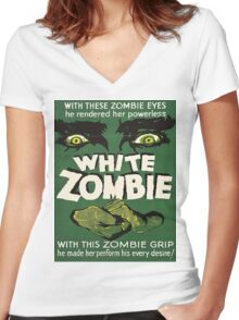 Cool White Zombie Film Poster Women's Fitted V-Neck T-Shirt