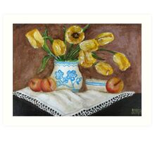 Still Life with apricots and Tulips Art Print