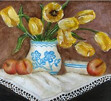 Still Life with apricots and Tulips by Sonja Peacock