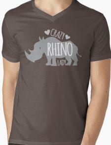 Crazy Rhino Lady Mens V-Neck T-Shirt