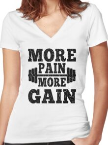 More Pain More Gain Fitness Motivation Women's Fitted V-Neck T-Shirt