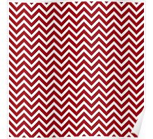 Oxblood red white small chevron zig zag modern pattern Poster