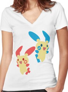 Plusle & Minun Women's Fitted V-Neck T-Shirt