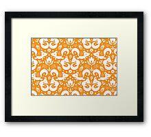 Cute ornamental foxes pattern Framed Print
