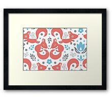 Foxes love blue flowers pattern Framed Print