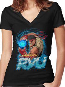 Ryu – Hadoken! Women's Fitted V-Neck T-Shirt