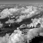 D-Day Hawker Typhoons diving black and white version by Gary Eason + Flight Artworks