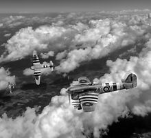 Hawker Typhoons diving black and white version by Gary Eason + Flight Artworks