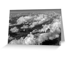 D-Day Hawker Typhoons diving black and white version Greeting Card