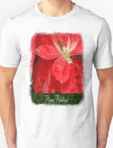 Mottled Red Poinsettia 1 Ephemeral Happy Holidays S6F1 T-Shirt