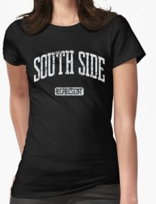 South Side Represent (White Print) Womens Fitted T-Shirt