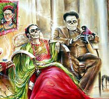 'Frida and Diego with Pet Monkey' by artist Heather Calderon by Heather Calderon