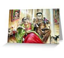 'Frida and Diego with Pet Monkey' by artist Heather Calderon Greeting Card