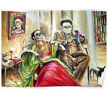 'Frida and Diego with Pet Monkey' by artist Heather Calderon Poster