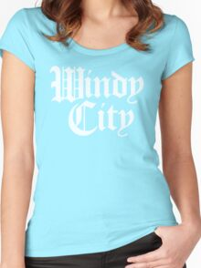 Windy City Gothic (White Print) Women's Fitted Scoop T-Shirt