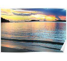 Shimmering Caribbean Sunset Seascape Poster