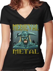 Medieval Metal Women's Fitted V-Neck T-Shirt