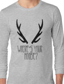 'Where's Your Moose?' SuperNatural Crowley Quote Long Sleeve T-Shirt