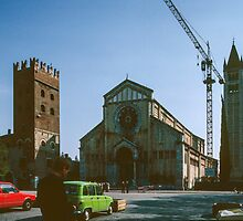 St Zeno Cathedral with its towers Verona Italy 198404190001  by Fred Mitchell