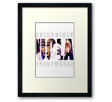 Asian Girls Everywhere (White Letters) Framed Print