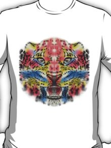 Multi Color Leopard Graphic Design T-Shirt