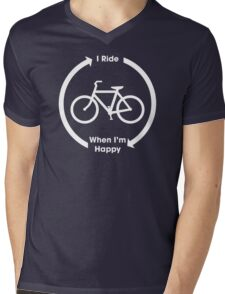 I Ride When I'm Happy (White) Mens V-Neck T-Shirt