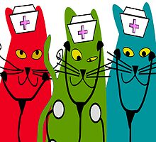 Nurse Cats Wearing Nurse Caps by gailg1957