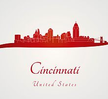 Cincinnati skyline in red by paulrommer