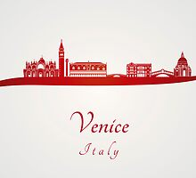 Venice skyline in red by Pablo Romero