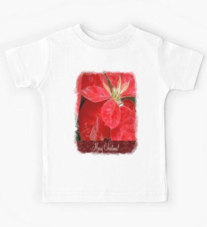 Mottled Red Poinsettia 1 Ephemeral Merry Christmas S5F1 Kids Tee