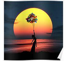 Balloon Girl Sunset Poster