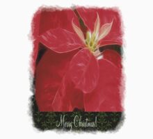 Mottled Red Poinsettia 1 Ephemeral Merry Christmas S6F1 Kids Clothes