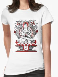 Buddha Meditating in a Lotus Flower Womens Fitted T-Shirt