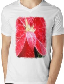 Mottled Red Poinsettia 2 Angelic Mens V-Neck T-Shirt