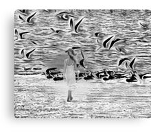Surreal with reality walk on the beach Canvas Print