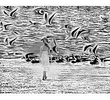 Surreal with reality walk on the beach Photographic Print