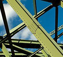 Girders and sky by Thad Zajdowicz