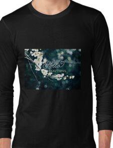 Hello Beautiful White Plum Blossoms Blue Green Brocade Long Sleeve T-Shirt