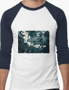 Hello Beautiful White Plum Blossoms Blue Green Brocade Men's Baseball ¾ T-Shirt