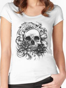 Skull Bio Wave Women's Fitted Scoop T-Shirt