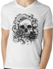 Skull Bio Wave Mens V-Neck T-Shirt