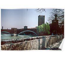 Scaliger bridge across Adige Verona Italy 19840419 0014m  Poster