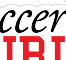 Cute cartoon soccer girl stickers, orange and red Sticker
