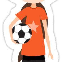 Cute cartoon girl holding a soccer ball, orange Sticker