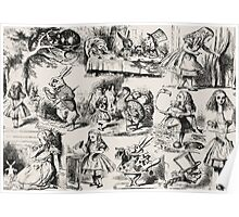Alice in Wonderland | Toile de Jouy | Beige & Black Poster