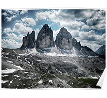 Tre Cime di Lavaredo Drei Zinnen Dolomites in the Alps mountain landscape rock stone and snow fine art color - La Corona Poster