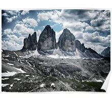 Tre Cime di Lavaredo Drei Zinnen Dolomites in the Alps mountain landscape rock stone and snow fine art color - La Corona Poster